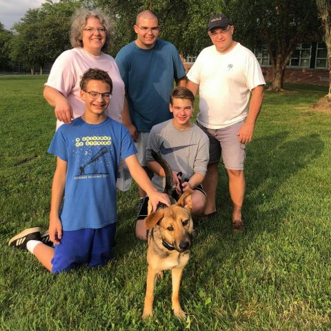 Mac with her new forever family